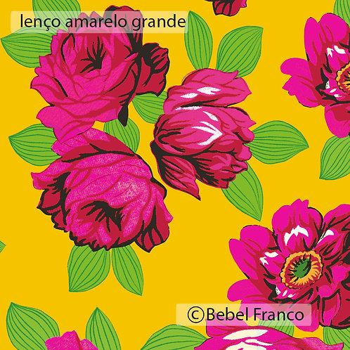 Tecido com estampa floral lenço amarelo grande