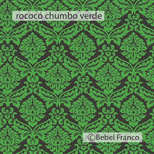 papel de parede estampa rococó verde fluor
