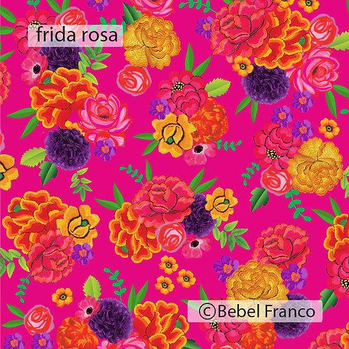papel de parede estampa frida fundo rosa