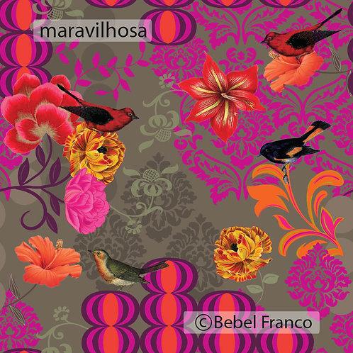 Tecido com estampa para decoração com pássaros maravilhosa
