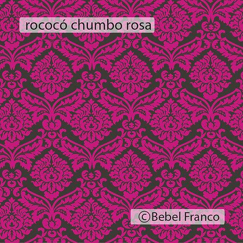 Tecido com estampa para decoração rococó rosa fluor