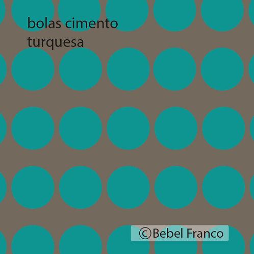 papel de parede bolas cimento turquesa