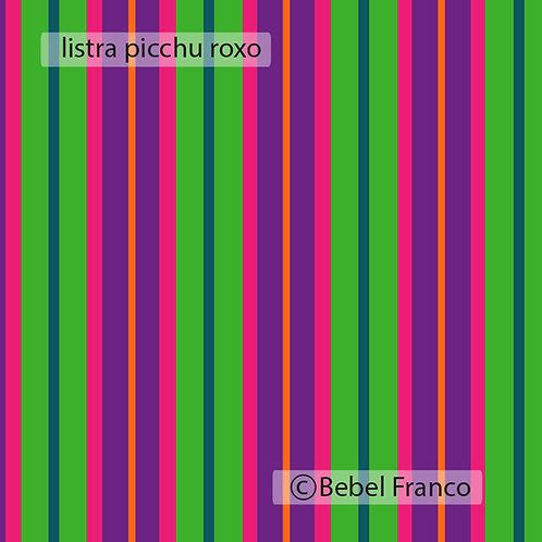 Tecido com estampa para decoração - listra picchu roxo