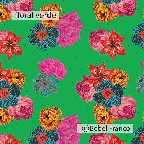 Tecido com estampa para decoração floral verde