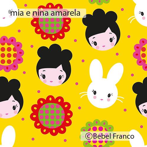 Tecido para decoração infantil mia e nina amarela