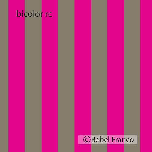 Tecido com estampa para decoração listra bicolor rosa e cimento