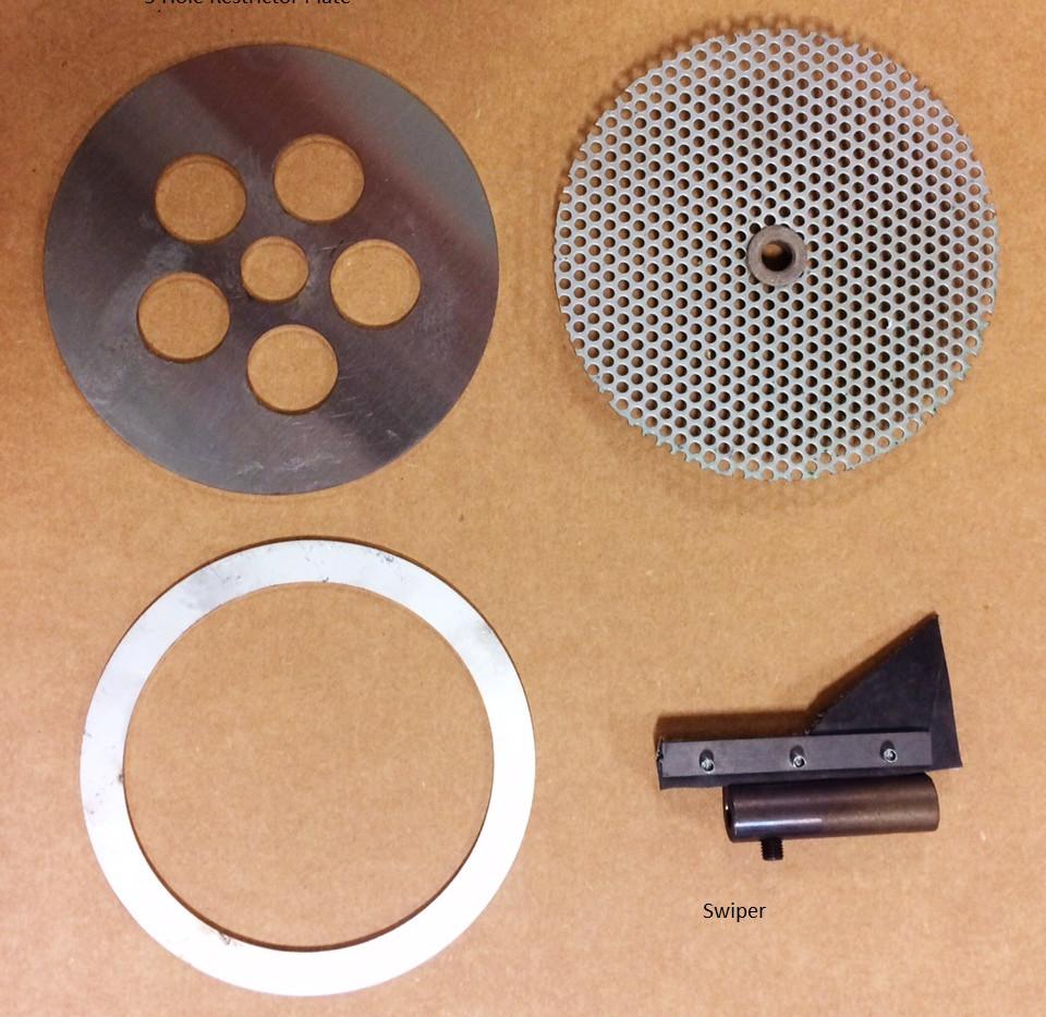 CT screen, 5-hole restrictor plate, & swiper.