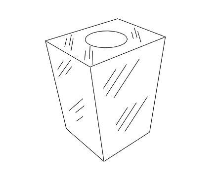 Square Tapered Vase: China Black