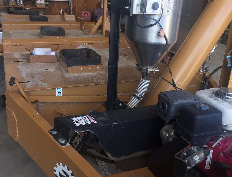 CT 6 gallon 12v dry applicator mounted on a Strobel 3 Box Seed Tender.