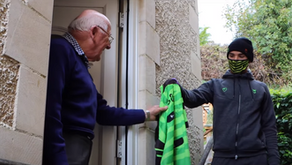 Kane Wilson visits local resident Bernard