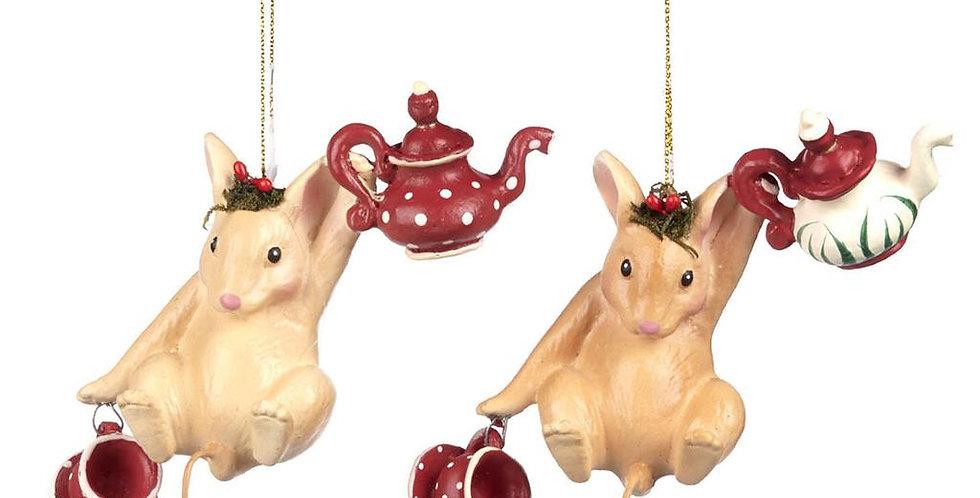 Topolino con teiera- set 2 decorazioni