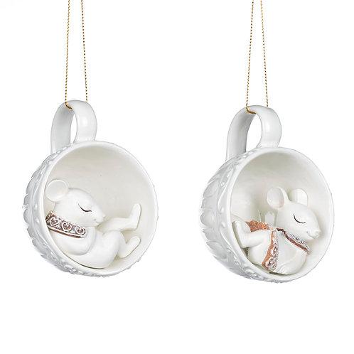 Topolino in tazzina - set 2 decorazioni