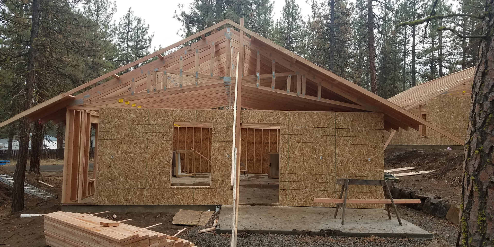 Front of cabin, porch still coming