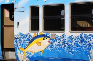 Painted passenger car of the JR Jyouhana Line, Toyama Prefecture