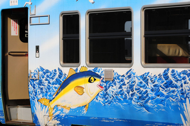 Painted passenger car of the JR Jyouhana Line, Toyama Prefecture