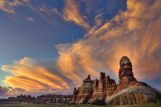 Sunset over the needles, Chesler Park, Utah