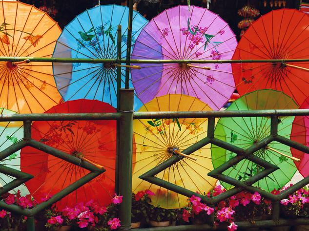 Decorative umbrellas, Dian Lake Park, Kunming
