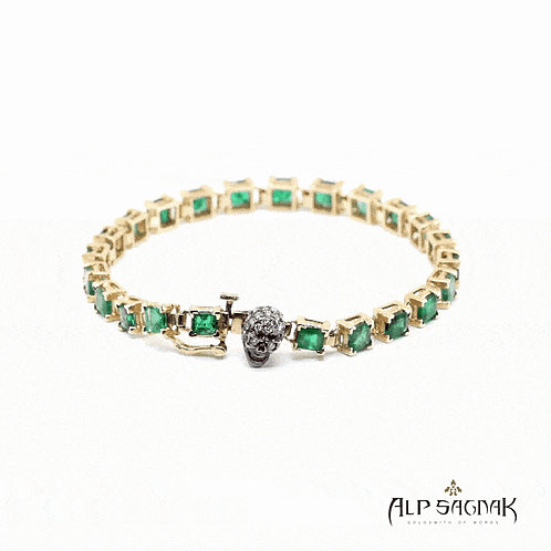 Mixed Square Cut Emerald Tennis Bracelet with Skull Clasp