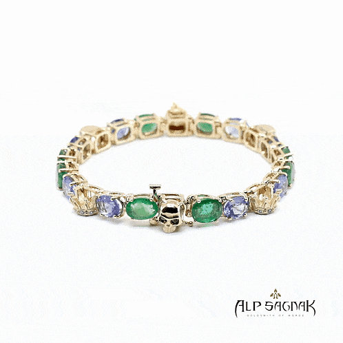Skull and Queen Tennis Bracelet with Tanzanites and Emeralds