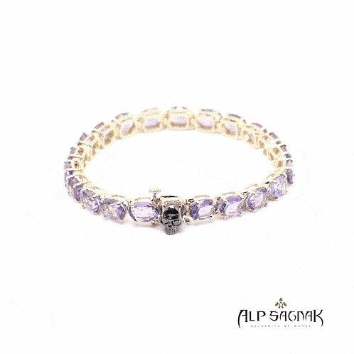 Amethyst Tennis Bracelet with Skull Clasp