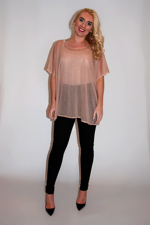 Peach Oversized Speckle Mesh Top