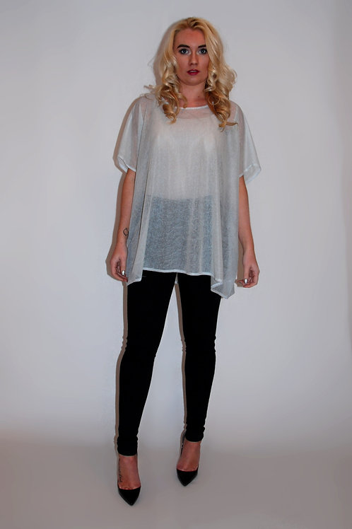 Silver Oversized Speckle Mesh Top