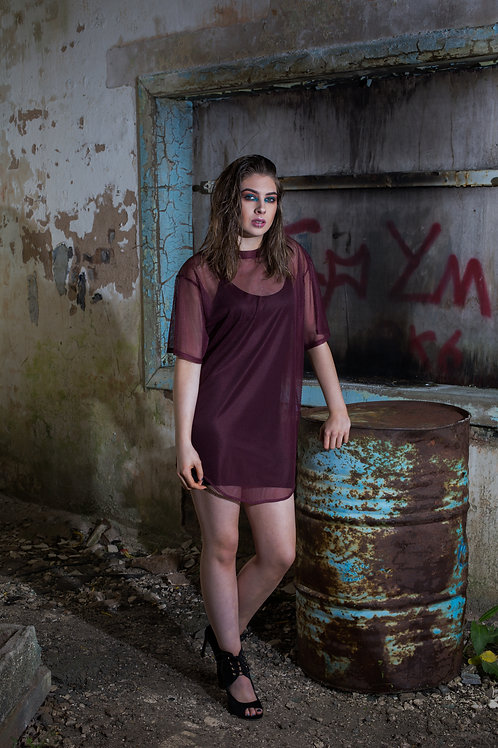 Burgundy Scooped Hem Mesh Dress