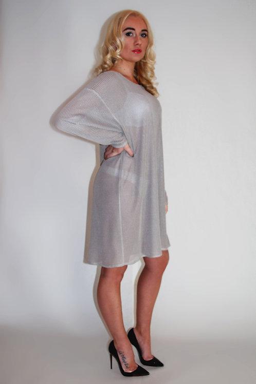 Oversized Beige Textured Mesh Dress
