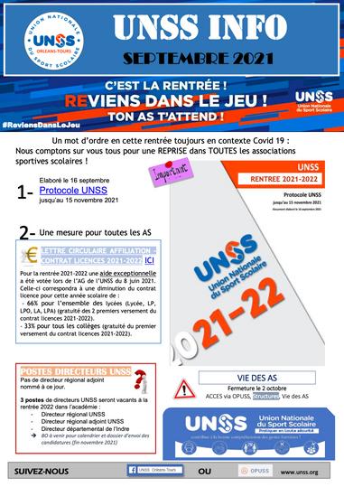Flash Info UNSS Orléans Tours