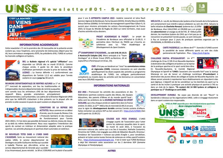 Newsletter SR UNSS BORDEAUX