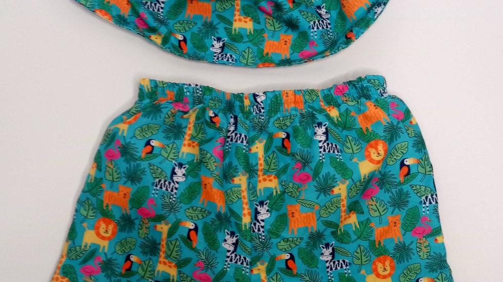 JoJo Maman Bebe Swim shorts and cap 2-3years