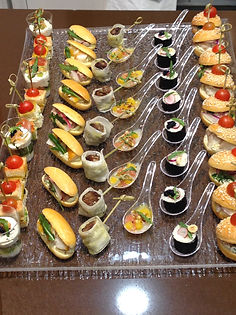 Attractive hors d'oeuvres created by a personal chef, the kind used at high-end corporate events and open houses