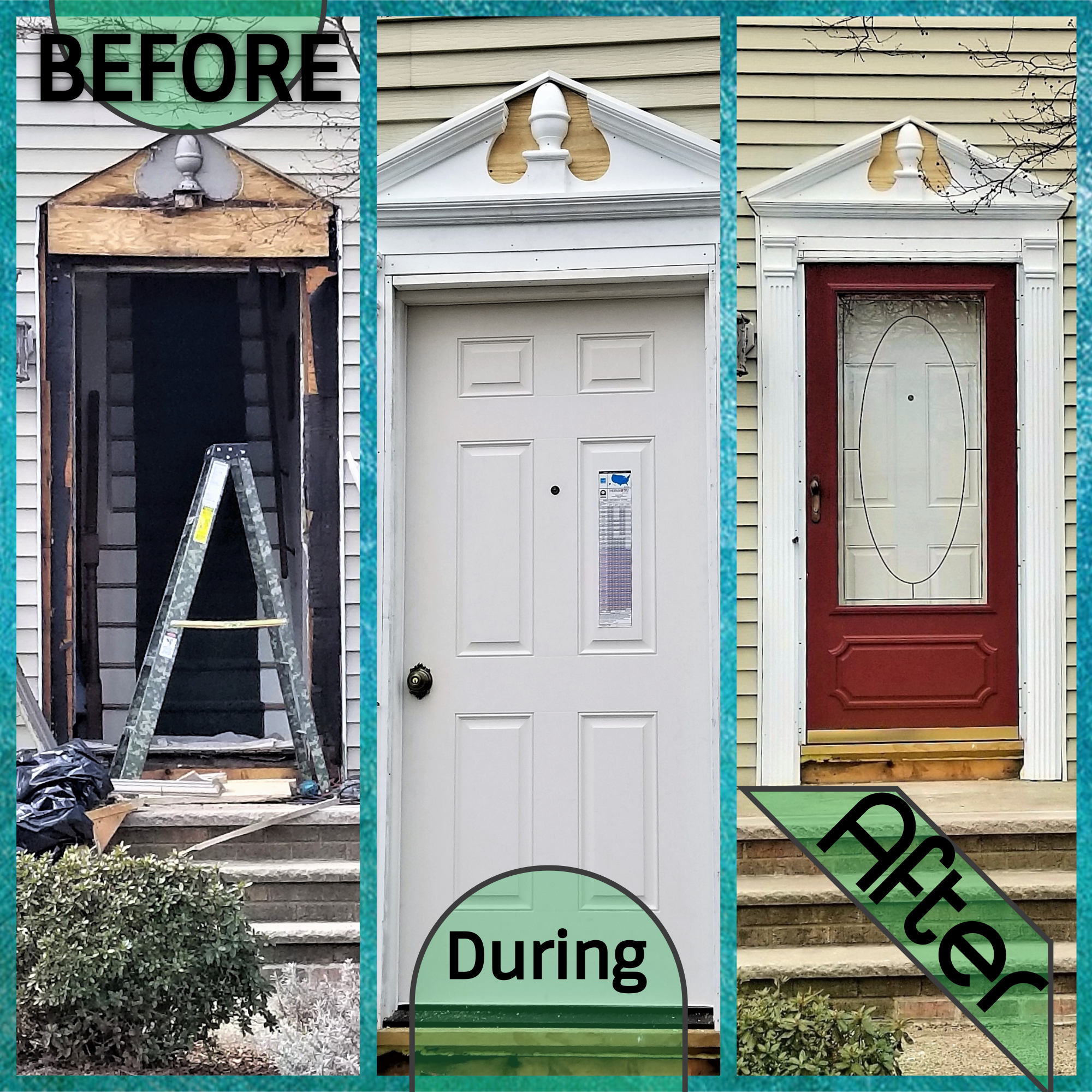 Door before - during - after