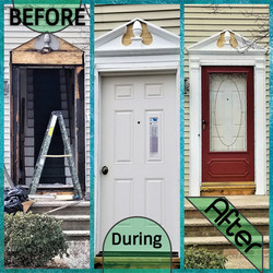 Door before - during - after