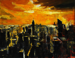 Sunset in lower Manhattan