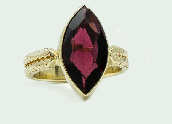 Ariel Gold Ring with Mozambique Marquise Garnet
