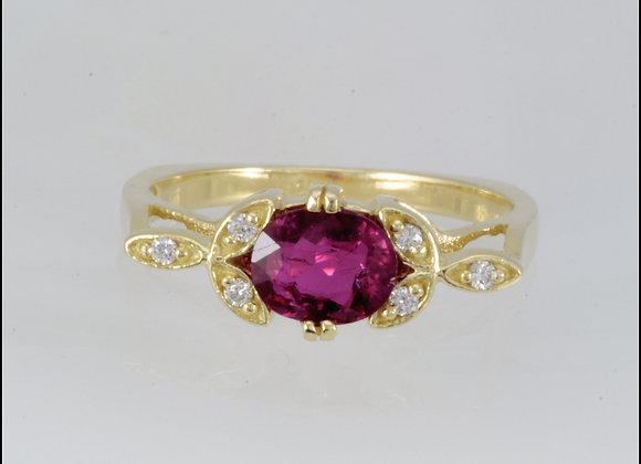 Nitzan Ruby and Diamonds Gold Ring