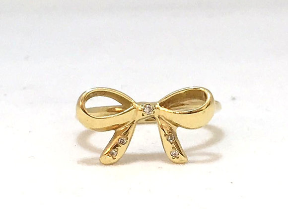 Bowtie Gold Ring with Diamonds