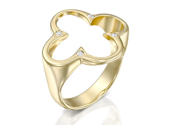 "Clover Gold Ring with Diamonds ""Tiltan"""