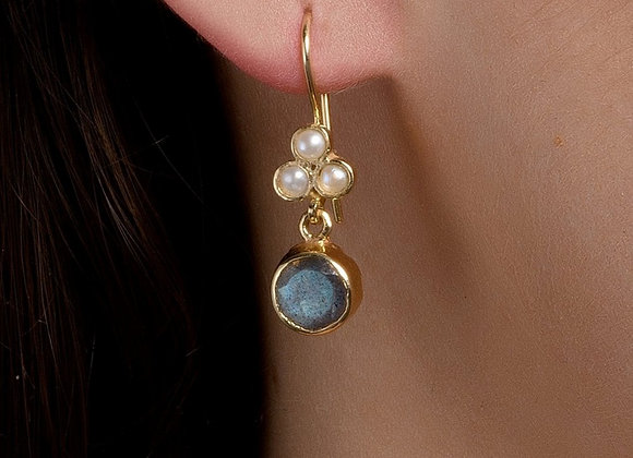 Miryam Pearls and Moonstone Gold Earrings