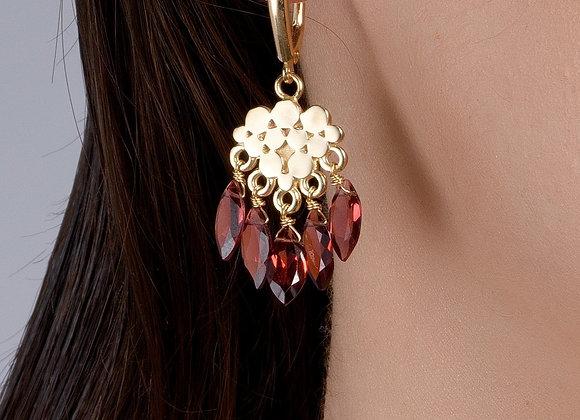 Grape Bunch Mozambique Marquise Garnet Gold Earrings