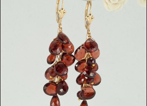 Red Cluster Eshkoll with Mozambique Marquise Garnet Gold Earrings