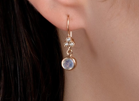 Yael Pearls and Moonstone Gold Earrings