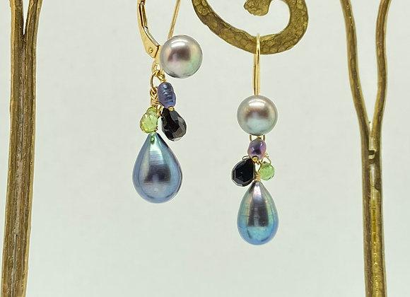 "Cluster ""Peacock"" Earrings with Black Pearl"