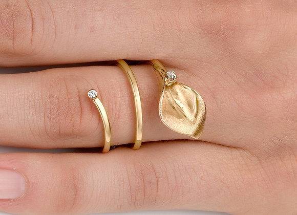 Calla Lily Diamond Gold Ring