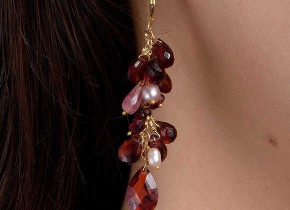 Cherry Cluster Gold Earring