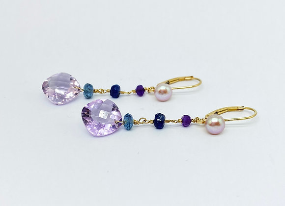 Violet Amethyst Gold Earrings