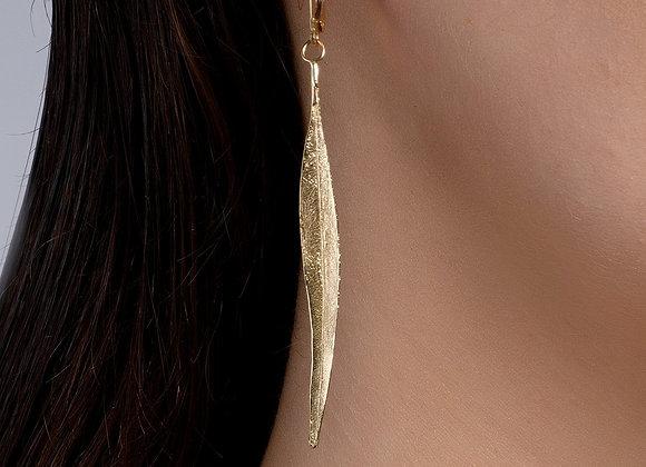 Eucalyptus Leaf Gold Earrings