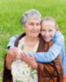 Elderly woman and her daughter enjoy the