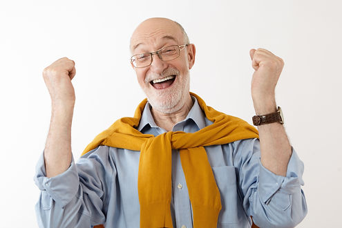 Picture of happy mature man feeling over